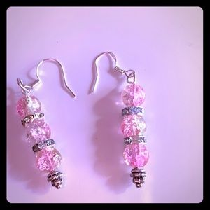 Pinkalicious Jewelry - Light pink glam sparkly glass earrings P1038